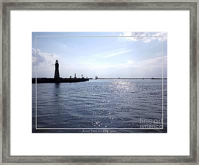 Buffalo Main Lighthouse And Buffalo Harbor Framed Print by Rose Santuci-Sofranko
