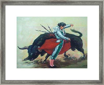 Bull Fighter 3 Framed Print by Baez