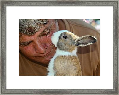 Bunny Kisses Framed Print by Theresa Johnson