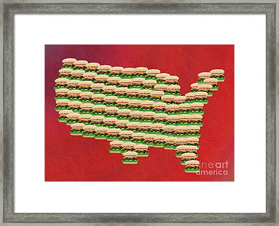 Burger Town Usa Map Red Framed Print by Andee Design