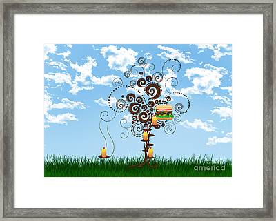 Burger Tree House And The Cupcake Kids  Framed Print by Andee Design