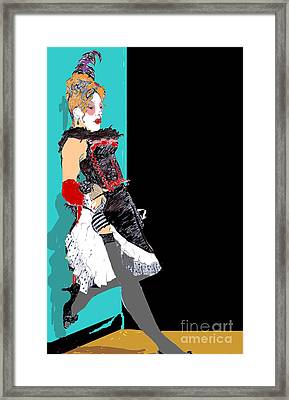 Burlesque Drawing 2 With Colour Framed Print by Joanne Claxton