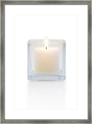 Burning Candle Front View  Framed Print by Atiketta Sangasaeng