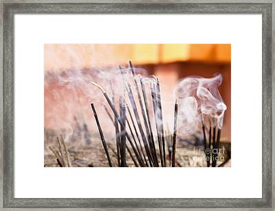 Burning Incense Framed Print by Inti St. Clair