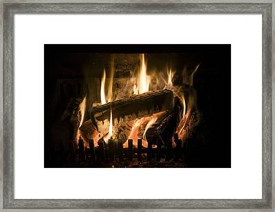 Burning Wood On An Open Fire Framed Print by Sheila Terry