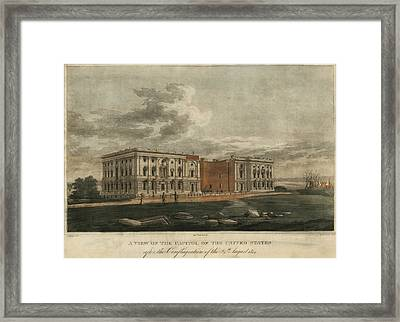 Burnt Out Capitol. A View Of The Us Framed Print by Everett