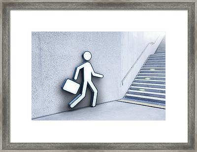 Businessman And Stairs Framed Print by Jorg Greuel