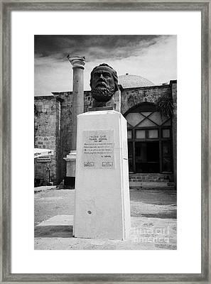Bust Statue Of Namik Kemal In Namik Kemal Square Famagusta Turkish Republic Of Northern Cyprus Trnc Framed Print by Joe Fox