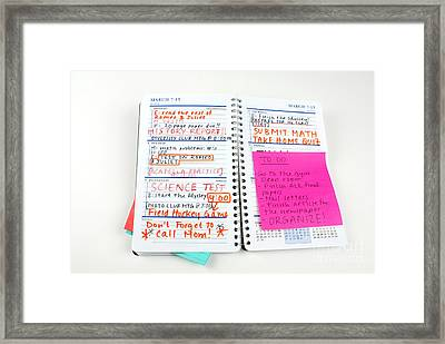 Busy Homework Planner Framed Print by Photo Researchers, Inc.