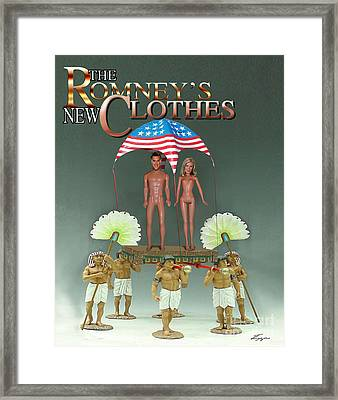 But-but They Are Not Wearing Any Clothes - Mitt Ken And Anne Barbie Romney  Framed Print by Reggie Duffie