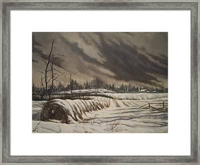 Butler Farm In Winter Framed Print by James Guentner