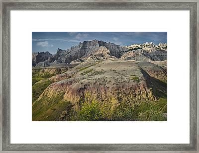 Butte Formation In Badlands National Park Framed Print by Randall Nyhof
