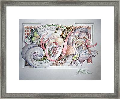 Butterflies With Pearls Framed Print by Elizabeth Shafer