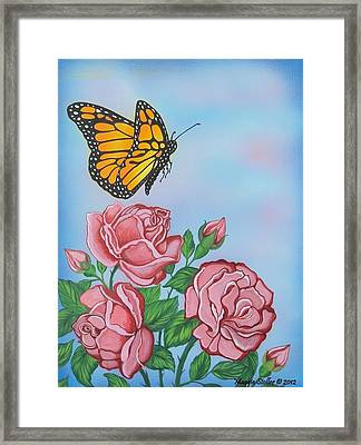Butterfly And Roses Framed Print by Margaret Stoller