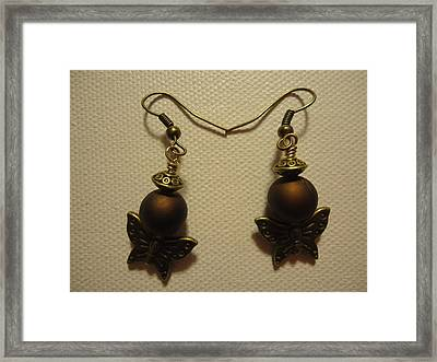 Butterfly Brown Earrings Framed Print by Jenna Green