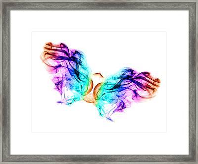 Butterfly In Smoke Framed Print by Alice Gosling