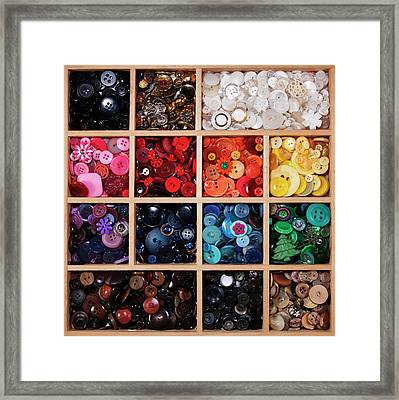 Button Tray Framed Print by Lisa Stokes