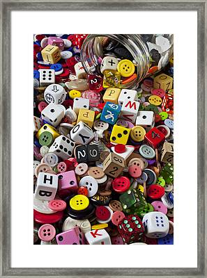 Buttons And Dice Framed Print by Garry Gay