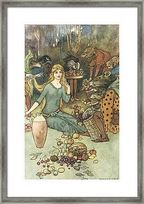 Buy From Us With A Golden Curl Framed Print by Warwick Goble