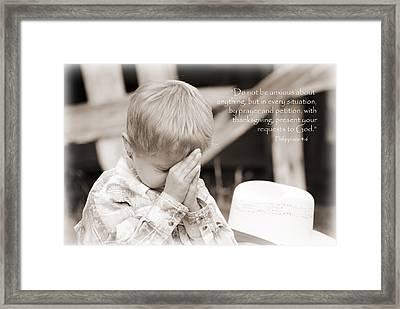By Prayer And Petition... Framed Print by Lisa Moore