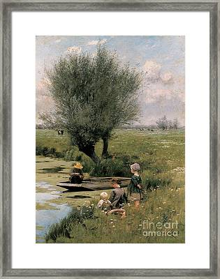 By The Riverside Framed Print by Emile Claus