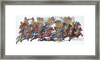 Byzantine Cavalrymen Rout Bulgarians Framed Print by Photo Researchers