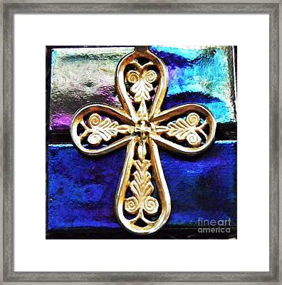 Byzantine Tree Of Life Cross 3 Framed Print by Sarah Loft
