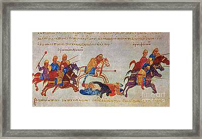 Byzantines Cavalrymen Pursuing The Rus Framed Print by Photo Researchers