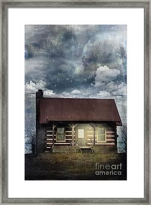 Cabin At Night Framed Print by Stephanie Frey