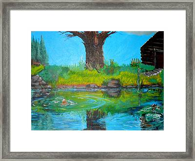 Cabin At Tree Framed Print by Timothy Hawkins