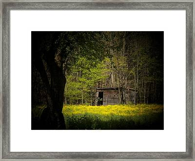 Cabin In The Flowers Framed Print by Joyce Kimble Smith