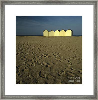 Cabins On A Beach In Normandy Framed Print by Bernard Jaubert