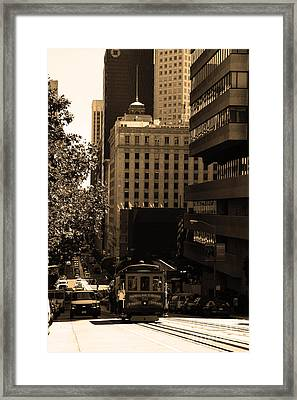 Cablecar On San Francisco California Street . Sepia . 7d7176 Framed Print by Wingsdomain Art and Photography