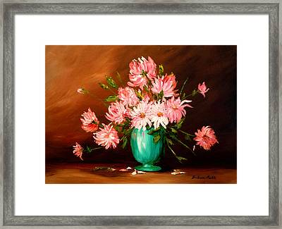 Cactus Dahlias Framed Print by Barbara Pirkle