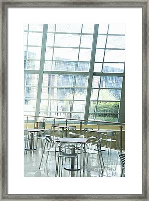 Cafe In Office Building Framed Print by Dave & Les Jacobs