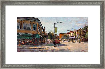 Caffe' Aroma In Elmwood Ave Framed Print by Ylli Haruni