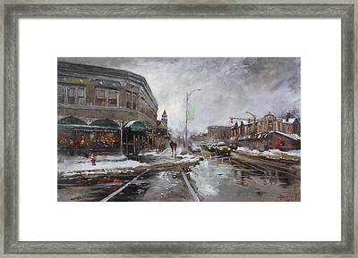 Caffe Aroma In Winter Framed Print by Ylli Haruni