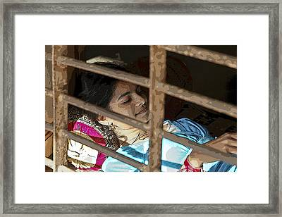 Caged Indian Beauty Framed Print by Kantilal Patel