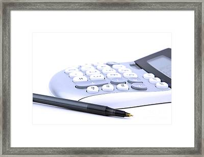 Calculator And Pen Framed Print by Blink Images