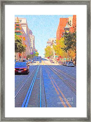 California Street In San Francisco Looking Up Towards Chinatown 2 Framed Print by Wingsdomain Art and Photography