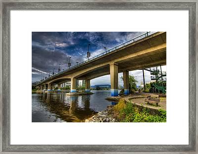 Cambie Bridge Framed Print by Viktor Lakics