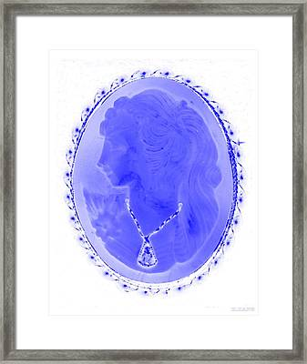 Cameo In Negative Blue Framed Print by Rob Hans