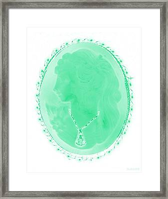 Cameo In Negative Green Framed Print by Rob Hans