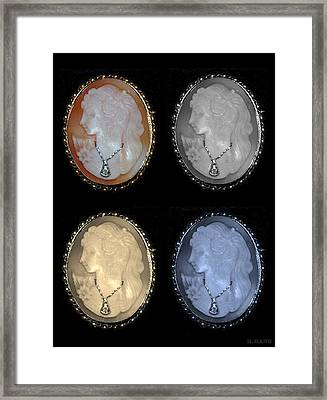Cameo In Quad Colors Framed Print by Rob Hans