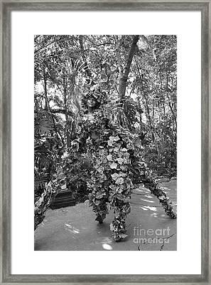 Camouflaged Tree Street Performer Animal Kingdom Walt Disney World Prints Black And White Framed Print by Shawn O'Brien