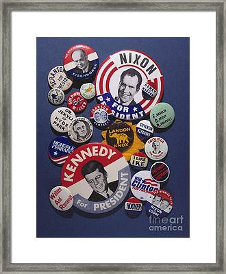 Campaign Buttons Framed Print by Granger