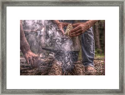 Campfire Hands Framed Print by The Stone Age