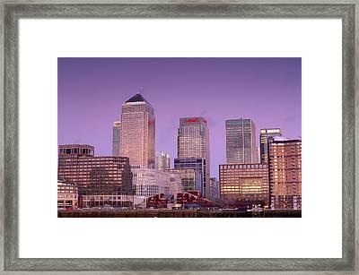 Canary Wharf At Dusk Framed Print by Jeremy Walker