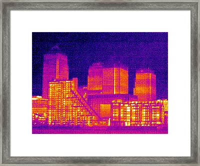 Canary Wharf, London, Uk, Thermogram Framed Print by Tony Mcconnell