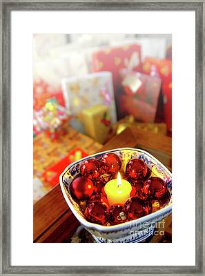 Candle And Balls Framed Print by Carlos Caetano